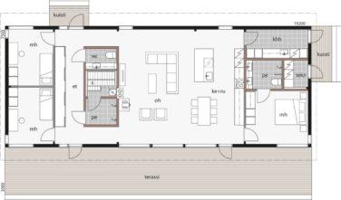 Dřevostavby Kontio Glass House TALO 150A půdorys