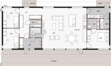 Dřevostavby Kontio Glass House TALO 150B půdorys