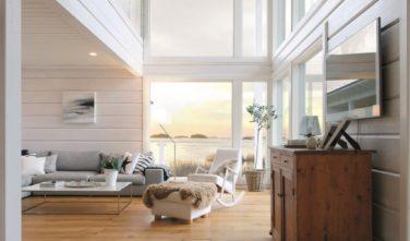 Dřevostavby Kontio Vila u jezera obývací pokoj