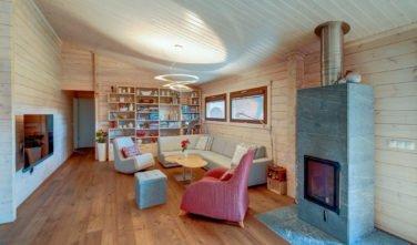 Dřevostavby Kontio bungalov na Moravě obývací pokoj