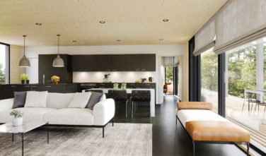 Dřevostavby Kontio Glass House TALO 150A obývací pokoj 2