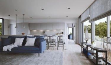 Dřevostavby Kontio Hlass House TALO 150 A obývací pokoj