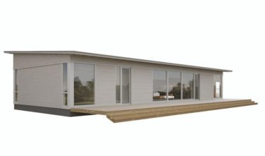 Dřevostavby Kontio Glass House TALO s pultovou střechou 2