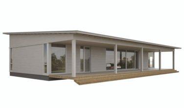 Dřevostavby Kontio Glass House TALO s pultovou střechou s přesahem 2