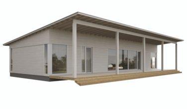 Dřevostavby Kontio Glass House TALO s pultovou střechou s přesahem