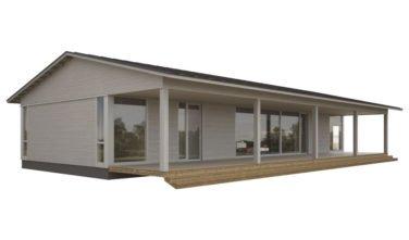 Dřevostavby Kontio Glass House TALO se sedlovou střechou s přesahem