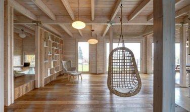 Dřevostavby Kontio srub na Šumavě obývací pokoj