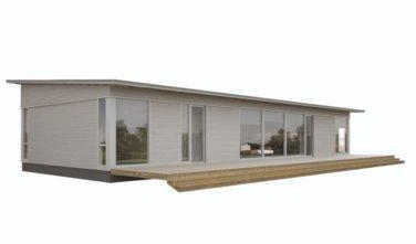 Pultová střecha s otevřenou terasou