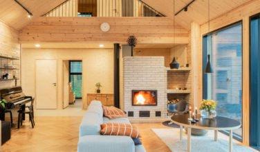 Dřevostavby Kontio SmartLog Oulunsalo obývací pokoj
