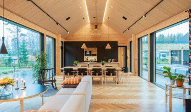 Dřevostavby Kontio SmartLog Oulunsalo obývací pokoj 1