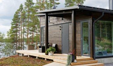 Dřevostavby Kontio Glasshouse 150 exteriér terasa