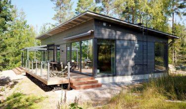 Dřevostavby Kontio rekreační domy Glass house pultová střecha
