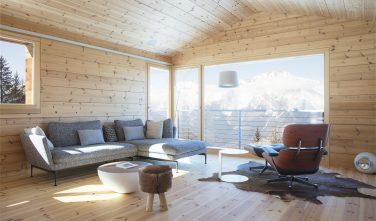 Dřevostavby KONTIO rodinný dům ve Valais obývací pokoj