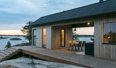 Dřevostavby KONTIO - Projekt Ö - moderní vila na ostrově - terasa